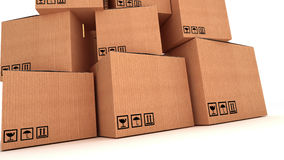 Collection of various cardboard boxes on white background. Royalty Free Stock Photo