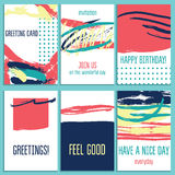 Collection of various cards with different textures and design. Ready  design card and poster template Stock Photos