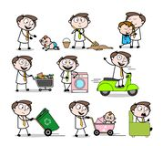 Collection Of Various Cartoon Professional working household tasks. Vector design royalty free illustration
