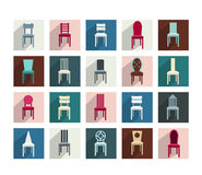 Collection of various chairs icons. Stock Photos