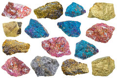 Collection of various chalcopyrite rocks Royalty Free Stock Image