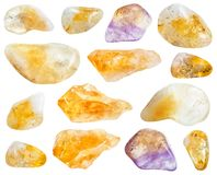 Collection of various Citrine gemstones isolated royalty free stock photo