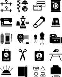Clothing and textile industry illustration. A collection of various clothing and textile industry icons in black and white vector illustration