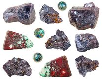 Collection of various Cuprite stones isolated Stock Photo
