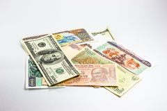 A collection of various currencies Stock Photos