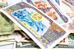 A collection of various currencies from countries Stock Photography