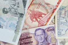 A collection of various currencies from countries Stock Photos