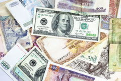 A collection of various currencies from countries Royalty Free Stock Image