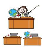 Collection Of Various on desk Cartoon Professional Teacher. Design stock illustration