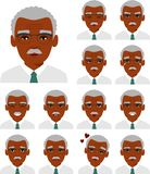 Set of different african american avatar old men in colorful flat style. vector illustration