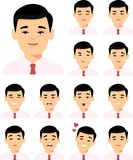 Set of different avatar asian man in colorful flat style. royalty free illustration