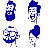 Collection of various expressions of happy people, mixed ages express positive emotions royalty free illustration