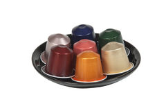 Collection of Various Flavors of Coffee Pods Stock Photo