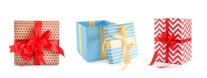 Collection of various gift boxes. On white background royalty free stock images