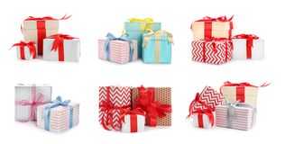 Collection of various gift boxes. On white background royalty free stock photo