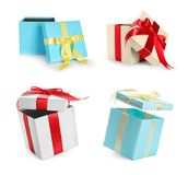 Collection of various gift boxes. On white background stock image