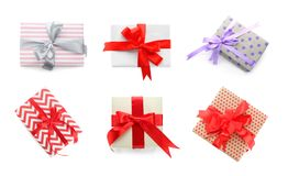 Collection of various gift boxes. On white background, top view royalty free stock photography