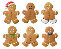 Collection of various gingerbread men on a white background Stock Photos