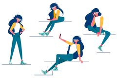 Collection of various girl poses. vector illustration