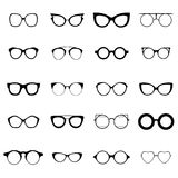 Collection of various glasses. To be worn by women, men and children. Eye glasses set. Vector illustration Royalty Free Stock Images