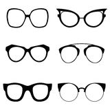 Collection of various glasses. To be worn by women, men and children. Eye glasses set. Vector illustration Stock Images