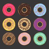 Collection of various glazed donuts Stock Images