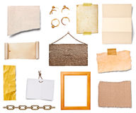 Grunge paper. Collection of various grunge paper pieces and oobjects on white background. each one is shot separately royalty free stock photos