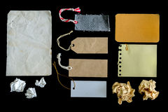 Collection of various grunge paper pieces and tag isolated Royalty Free Stock Image