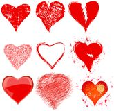 Collection of various grungy hearts and love symbols,vector Royalty Free Stock Photography