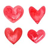 Collection of various hand drawn watercolor heart shapes stock photography