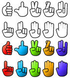 Collection of various hand signs and signals. Both color and black and white Royalty Free Stock Photo