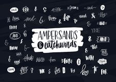 Collection of various handwritten ampersands, conjunctions, prepositions and articles. Bundle of elegant hand lettering. Design elements, words isolated on dark stock illustration
