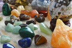A Collection of Various Healing Crystals.