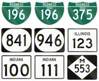 Collection of various highway shields in the US.  royalty free illustration