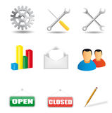 Collection of various icons. A collection of 9 various icons on white background Stock Photography