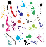 Collection of various ink splatter symbols Stock Photography
