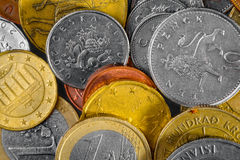Collection of various international coins closeup Royalty Free Stock Photo