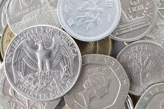 Collection of the various international coins Stock Photos