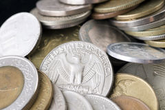 Collection of the various international coins. Closeup photo Stock Photography