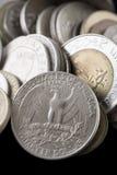 Collection of the various international coins. Closeup photo Royalty Free Stock Photos