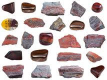 Collection of various Jaspillite stones isolated Royalty Free Stock Photography