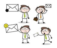 Collection Of Various Letter & Message Cartoon Professional Businessman. Design royalty free illustration