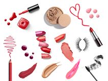 Lipstick nail polish beauty make up cosmetics royalty free stock images