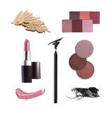 Collection of various make up accessories. Isolated on white Royalty Free Stock Images