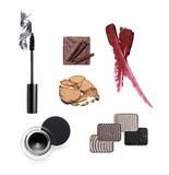 Collection of various make up accessories. Isolated on white Stock Image