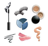 Collection of various make up accessories. Isolated on white Stock Images