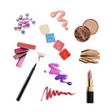 Collection of various make up accessories. Isolated on white Stock Photography