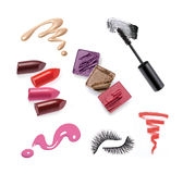 Collection of various make up accessories. Isolated on white Royalty Free Stock Photography