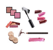Collection of various make up accessories. Isolated on white Royalty Free Stock Photos