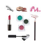 Collection of various make up accessories. Isolated on white Stock Photos